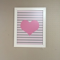 quadro coração rosa